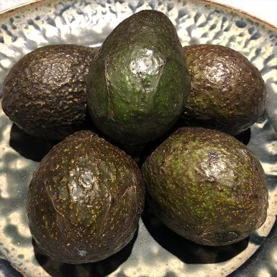5 avocados on a plate